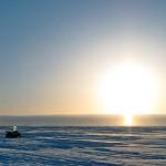 Sun pillar above base camp. Catlin Arctic Survey.